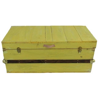 Rustic Sunny Yellow Washed Steamer Trunk For Sale