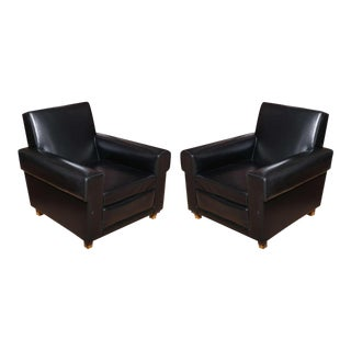 Pair of French 40's Oversized Club Chairs by Erton For Sale