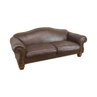 Lillian August Brown Leather Sofa With Down Filled Cushions For Sale