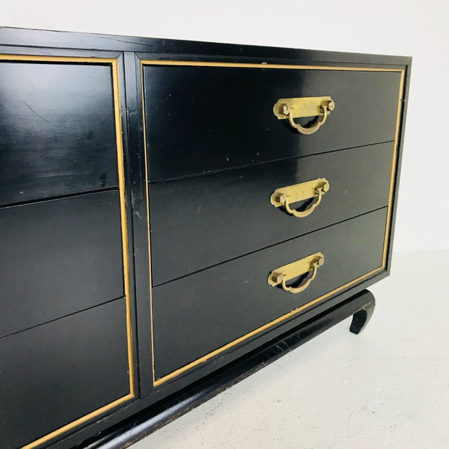 Black and gold Asian dresser by American of Martinsville. Dresser need refinishing but in overall good vintage condition....