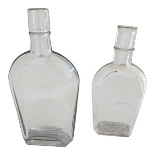 1920's Clear Shoo Fly Whiskey Strap Sided Flasks Bottles - a Pair