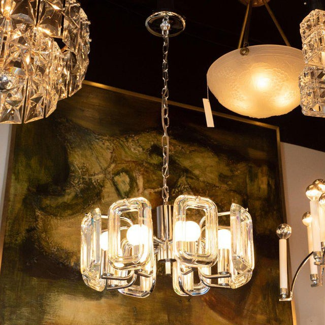 Mid-Century Modern Rectilinear Chrome and Iridescent Glass Eight-Arm Chandelier For Sale In New York - Image 6 of 8