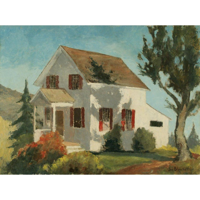 Original framed oil painting by Jon Blanchette of home in California, circa 1950s-1960s. Presented in a custom frame...