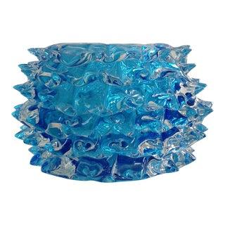 1960s Barovier & Toso Aquamarine Murano Rostrato Art Glass Bowl For Sale