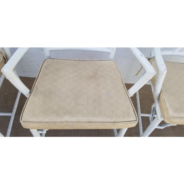 White 1970s Hollywood Regency Brown Jordan Calcutta Faux Bamboo Dining Chairs - Set of 4 For Sale - Image 8 of 13