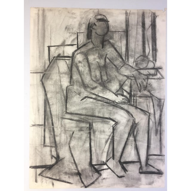 Gray 1950's Cubist Charcoal Female Nude Henry Woon Bay Area Artist For Sale - Image 8 of 8