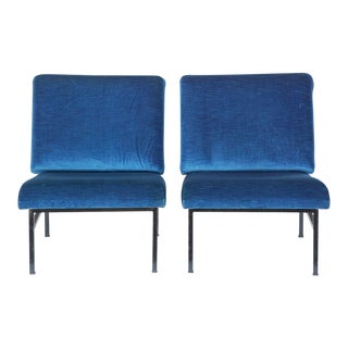 "Design Frères ""Déclive"" Velvet and Blackened Steel Slipper Chairs- A Pair For Sale"
