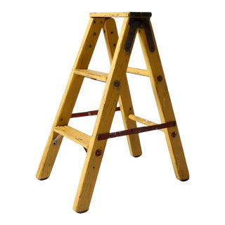 Vintage Painted Wood Step Ladder For Sale