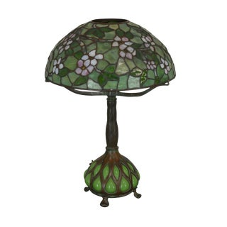 Tiffany Studios New York Signed Dogwood Table Lamp For Sale