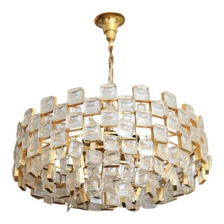 Vintage Palwa Square Glass and Brass Chandelier For Sale