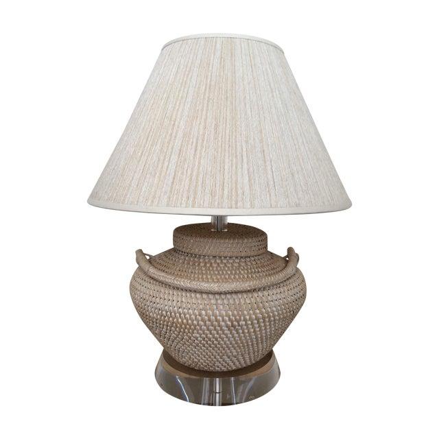Richard Lindley Rattan Basket Lamp - Image 1 of 9
