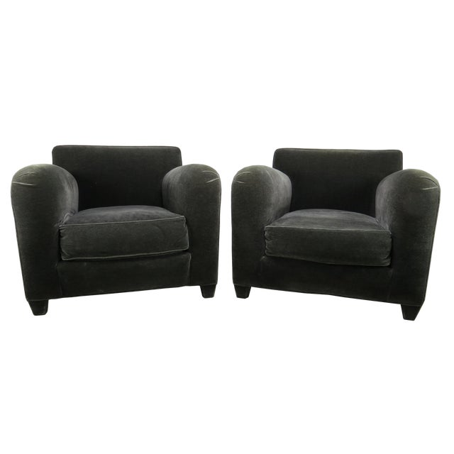1980s Donghia Art Deco Style Gray Mohair & Down Club / Lounge Chairs - a Pair For Sale
