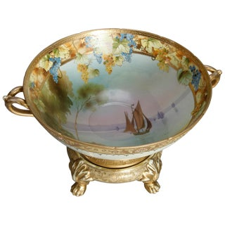 1920 Japanese Nippon Hand Painted and Gilt Seascape Porcelain Punch Bowl For Sale