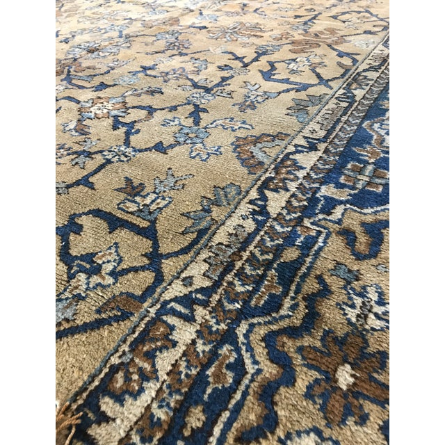 Textile Antique Blue & Tan Turkish Rug - 8′10″ × 11′7″ For Sale - Image 7 of 12
