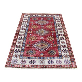 Kazak Wool Caucasian Design Hand-Knotted Rug- 3′4″ × 4′10″ For Sale