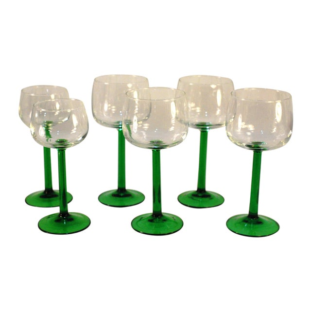 Emerald Green Cristal d'Arques Wine Glasses - Set of 6 - Image 1 of 5