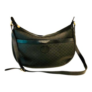 1980s Gucci Black G-G Logo Canvas and Leather Shoulder Bag For Sale