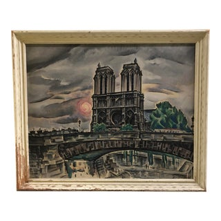 Mid-Century Modern Notre Dame, Paris Oil on Canvas Painting, 1950s For Sale