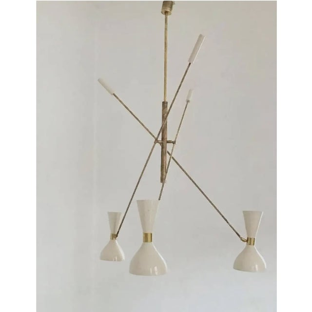 Arredoluce 'Triennale' Style Adjustable Three-Arm Chandelier For Sale - Image 4 of 8