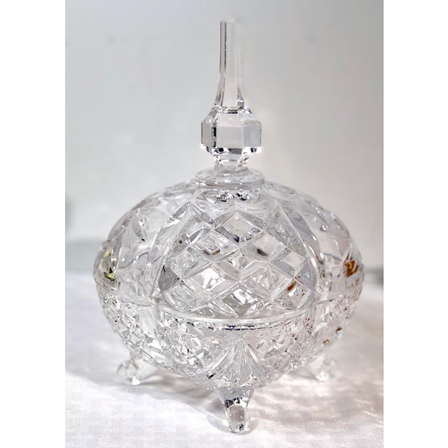 Late 20th Century Vintage Crystal Footed Candy Dish For Sale - Image 10 of 10