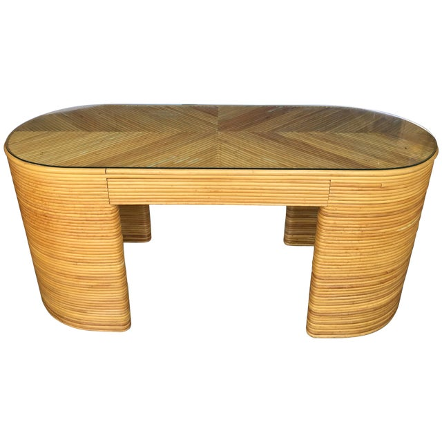Paul Frankl Style Mid-Century Modern Sculptural Oval Reed Bamboo Desk Console For Sale