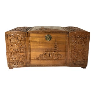 20th Century Asian Hand Carved Jewelry Box For Sale