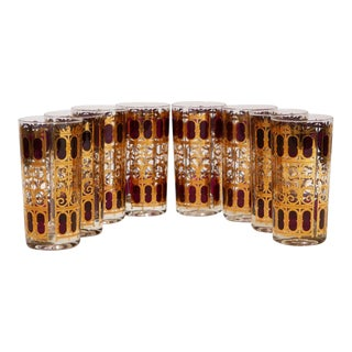 """Culver 22k Gold """"Cranberry Scroll"""" Cocktail Glasses For Sale"""