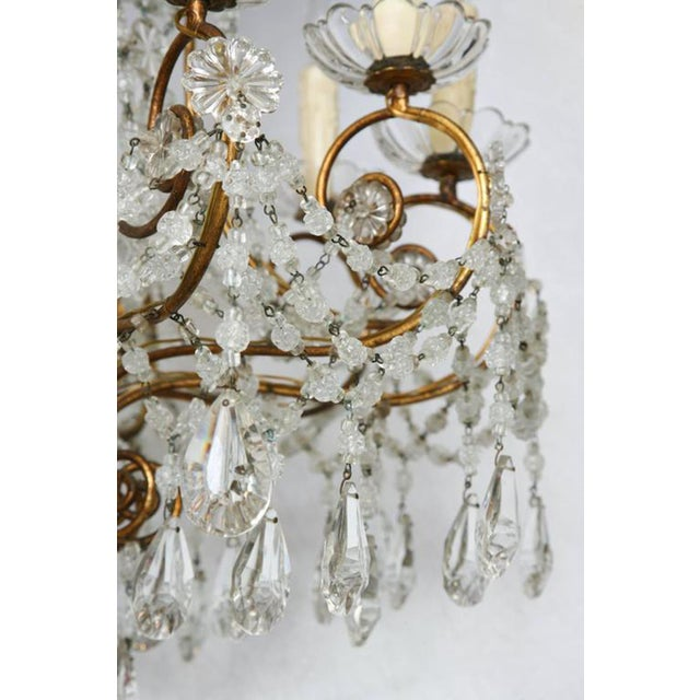 Gold Unusual Ten-Light Gilded Iron Italian Chandelier, Early 20th Century For Sale - Image 8 of 10