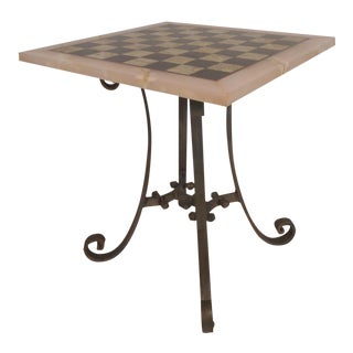 Vintage Marble-Top Chessboard Game Table For Sale