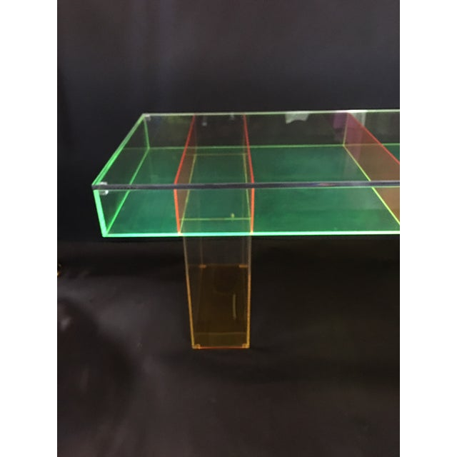 Modern Multi-Color Lucite Coffee Table For Sale In Los Angeles - Image 6 of 7