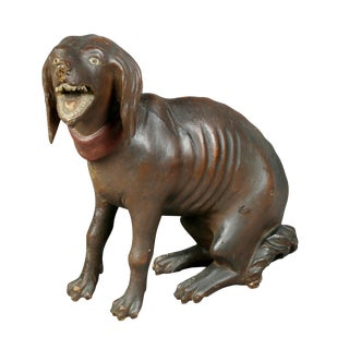 Unusual Painted and Carved Wood Dog For Sale