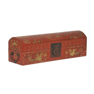 Early 20th Century Antique Chinese Hand-Painted Glove Box For Sale
