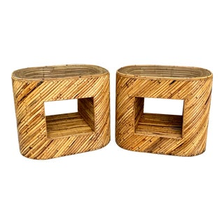 1960's Stacked Bamboo Side Tables in the Manor of Gabriella Crespi - a Pair For Sale