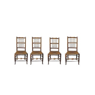 Late 18th Century Vintage English Turned Ash Rush Seat Chair- Set of 4 For Sale