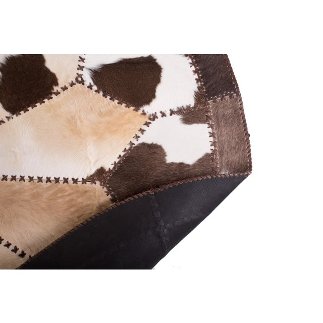 """Cowhide Patchwork Round Area Rug - 6'6""""x6'6"""" - Image 6 of 6"""