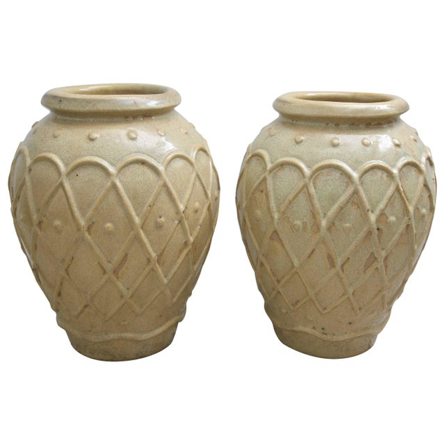 American Art Deco Glazed Pottery Urns Planters Cache Pot by Galloway - a Pair For Sale - Image 10 of 10