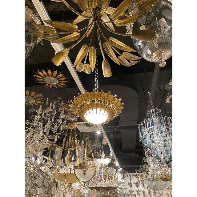 1920's Gilt Metal Light Fixture For Sale In New York - Image 6 of 9