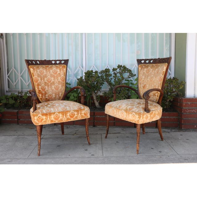 1940's Pair of Carved Chairs For Sale - Image 4 of 12