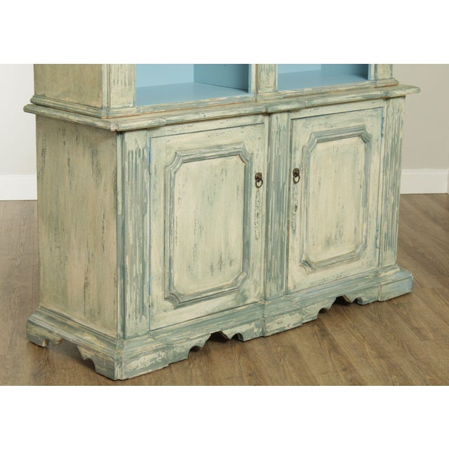 Italian Custom Faux Blue Painted Architectural Bookcase For Sale - Image 11 of 13