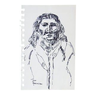 Contemporary Pen & Ink Drawing of Native American For Sale