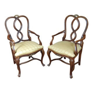 1970s Vintage Ralph Lauren Traditional English Style Carved Armchairs - a Pair For Sale