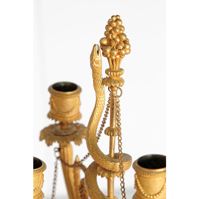 Neoclassical / Louis XVI-Style Gilt Bronze Mounted Blue John Candlelabra For Sale - Image 4 of 12