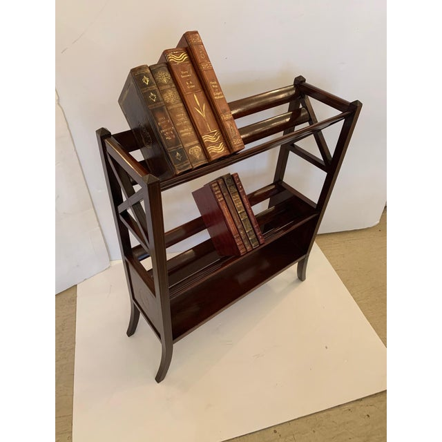 A unique English antique mahogany book trough or elegant shelving unit having 3 tiers and lovely satinwood inlay...