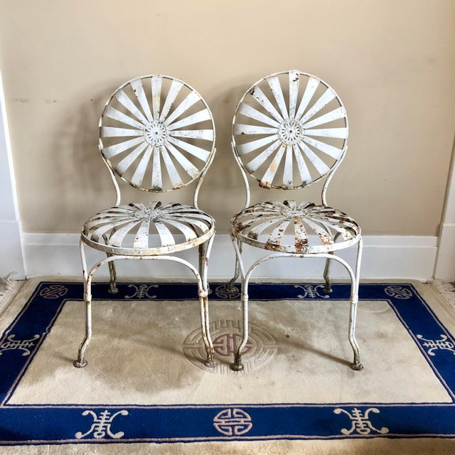 Francois Carre White Iron Sunburst Garden Chairs - a Pair For Sale - Image 13 of 13