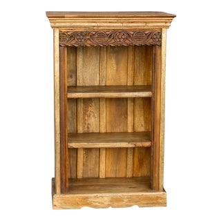 Charming Teak Carved Bookcase For Sale