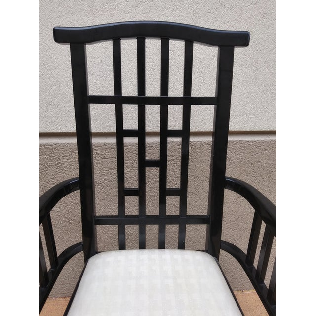 Charles Rennie Mackintosh Style Black Lacquer Asian Flare Chinese Chippendale Fretwork - Set of 6 Dining Chairs For Sale In Miami - Image 6 of 13