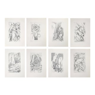 """1920 Franz Marc 2nd Edition """"Sketches From the Field"""" Cubist Animal Prints - Set of 8 For Sale"""