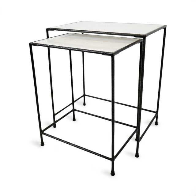 White Marble & Iron Nesting Tables - a Pair For Sale - Image 4 of 6