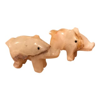 Onyx Pig Paperweights - A Pair For Sale