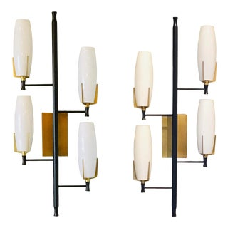 Arteriors Modern Black and White Keifer Wall Sconces - a Pair For Sale